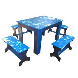 Masa cu canapele din pvc albastru cu gri pentru gradina