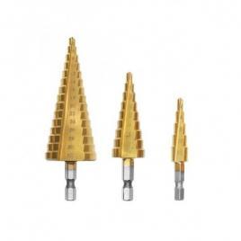 Set 3 burghie in trepte, 4-12, 4-20, 4-32mm, auriu