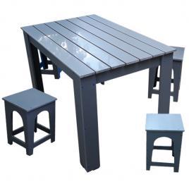 Set masa pentru gradina cu scaune gri din PVC