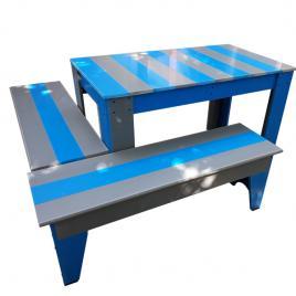 Set masuta cu canapele pentru gradina gri/albastru PVC