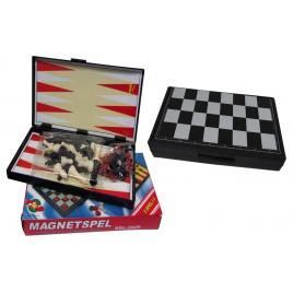 Joc educativ 3 in 1, Sah, Table si Dame cu tabla si piese magnetice, Magnetspel, 25 CM