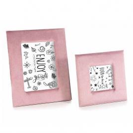 Set 2 rame foto de masa din catifea roz 21 cm x 26 h