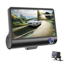 Camera auto tripla, filmare interior/exterior/marsarier, full HD, negru