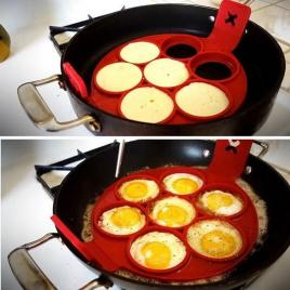 Forma din silicon alimentar premim pentru clatite sau oua, rosu cu 7 compartimente