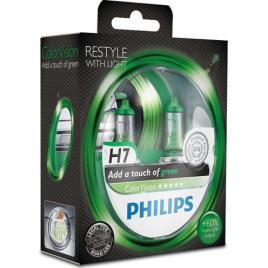 Set 2 Becuri auto Philips H7 Color Vision Green 12V 55W