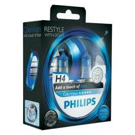 Set 2 Becuri auto far halogen Philips H4 Color Vision Blue 12V 55W