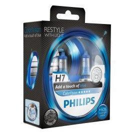 Set 2 Becuri auto far halogen Philips H7 Color Vision Blue 12V 55W