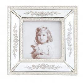 Rama foto de masa din polirasina argintie decorata cu oglinda 17 cm x 2 cm x 17 h