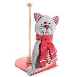 Suport rola hartie lemn textil gri rosu model pisica cm 15 x 20 cm x 29 h