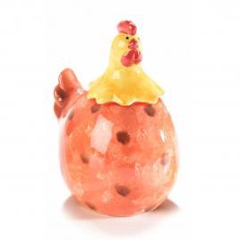 Borcan decorativ model gaina din ceramica rosie 10 cm x 8 cm x 13 h