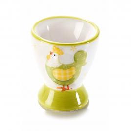 Suport ou din ceramica alb verde gaina 5,5 cm x 6,5 h
