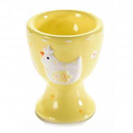 Suport ou din ceramica galben alb Ø 5,5 cm x 7,5 h
