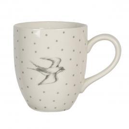 Cana din ceramica alba gri 11 cm x 8 cm x 19 h
