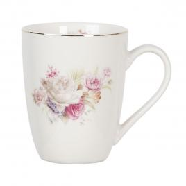Cana din portelan alb cu decor floral roz 12 cm x 9 cm x 11 h