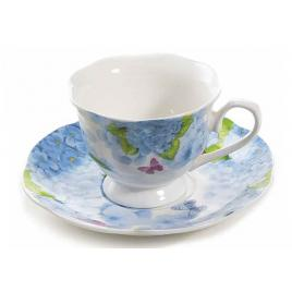 Ceasca cu farfurioara portelan decor floral albastru Ø 7.5 cm x 5.5 h, 80 ml