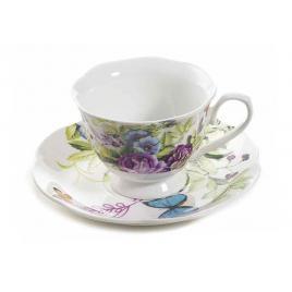 Ceasca cu farfurioara portelan decor floral mov Ø 7.5 cm x 5.5 h, 80 ml