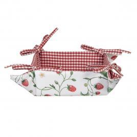 Cos paine bumbac alb rosu fragi 35 cm x 35 cm x 8 h