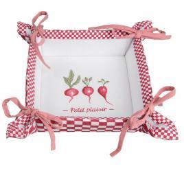 Cos paine bumbac alb rosu petit 35 cm x 35 cm x 8 h