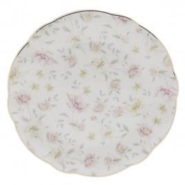 Farfurie din portelan alb cu decor tuberoze Ø 26 cm x 2 h