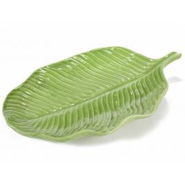 Platou decorativ ceramica verde leaf 30 cm x 17 cm