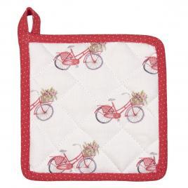 Suport pentru vase fierbinti din bumbac alb rosu bycicle 16 cm x 16 cm