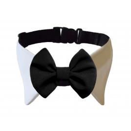 Zgarda cu papion negru si guler alb  ,Peta's, lungime 30 cm