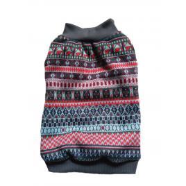 Pulover Petas cu imprimeu multicolor, toamna -iarna, caini/pisici, marime XL 40-45 cm