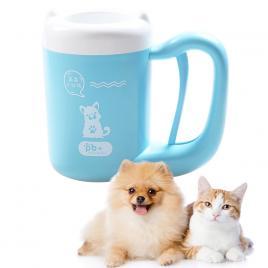 Aparat Cana Curatare Labute Pisici, Catei Pet Animale Companie, Caini, Pisici, Peri Moi Silicon, Rotire 360 Pentru o Curatare Imaculata, S Blue