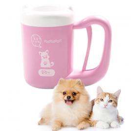 Aparat Cana Curatare Labute Pisici, Catei Pet Animale Companie, Caini, Pisici, Peri Moi Silicon, Rotire 360 Pentru o Curatare Imaculata, S Roz