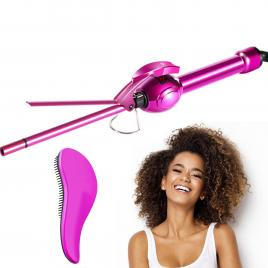 Ondulator Par Profesional Ultra-Slim, TotulPerfect Turmaline Ceramic Bucle Afro 8mm, 35W Display LCD, Barbie + Perie Descalcire