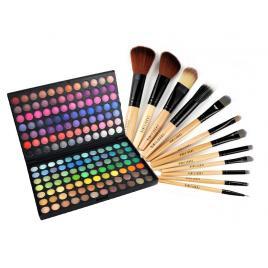 Kit Trusa profesionala 168 de farduri make-up si Set Pensule machiaj par natural si par sintetic 12 Bucati