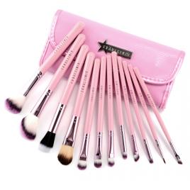 Set 12 pensule machiaj Cosmetic Par Natural-Sintetic Make-up Profesional roz