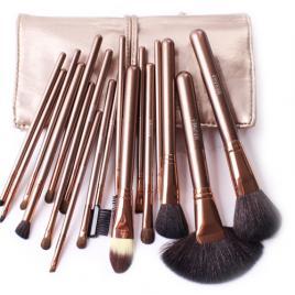 Set 18 pensule machiaj Cosmetic Par Natural- Make-up Profesional Gold+ Trusa 12 Nuante Fard Pleoape + Burete Machiaj Cadou!