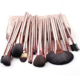 Set 24 pensule machiaj Cosmetic Par Natural- Make-up Profesional Gold  + Trusa Machiaj + Burete Machiaj Cadou!