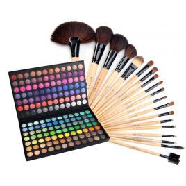 Set Cosmetica Kit Trusa profesionala 168 de farduri make-up si Set 18 Pensule machiaj par natural si par sintetic+Trusa Corector 5 Nuante