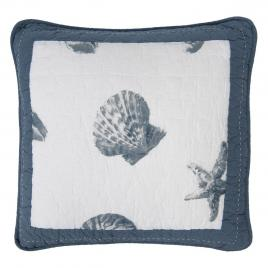 Fata de perna din bumbac albastru alb matlasat decor marin 50 cm x 50 cm