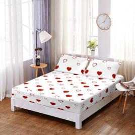 Husă pat finet+2 fețe pernă, ralex, culoare alb, model hf7