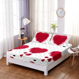 Husă pat finet+2 fețe pernă, ralex, culoare alb/rosu, model hf6