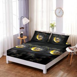 Husă pat finet+2 fețe pernă, ralex, culoare negru/galben, model hf12