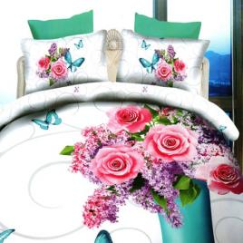 Lenjerie de pat digital print 3d, ralex, model liliac flowers