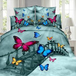 Lenjerie de pat digital print 3d, ralex, culoare bleo, model butterfly on the bridge