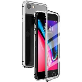 Husa metalica pentru Apple iPhone 8, Total Protect GloMax Argintiu, spate din sticla securizata premium + folie de sticla pentru ecran