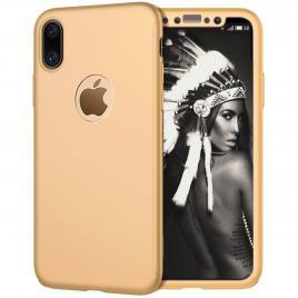 Husa GloMax FullBody Gold pentru Apple iPhone X cu folie de sticla inclusa