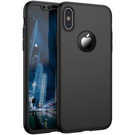 Husa GloMax FullBody Negru pentru Apple iPhone XS cu folie de sticla inclusa