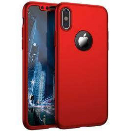 Husa GloMax FullBody Rosu pentru Apple iPhone XS cu folie de sticla inclusa