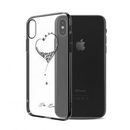 Husa GloMax pentru Apple iPhone X design Cristale Swarovski - Black