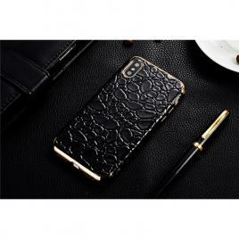 Husa GloMax pentru Apple iPhone X design Piele Crocodil - Black - Gold