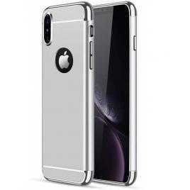 Husa pentru Apple iPhone X, GloMax 3in1 PerfectFit, Silver