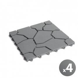 Set de 4 plăci paviment pentru grădini 29 x 29 x 1,5 cm - model piatră naturală - gri - 11533