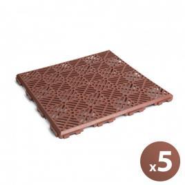 Set de 5 plăci paviment pentru grădini - 295 x 295 x 15 mm mat. plastic, teracotă - 11531